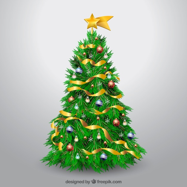 Realistische versierde kerstboom vector gratis download - Cd decorados de navidad ...