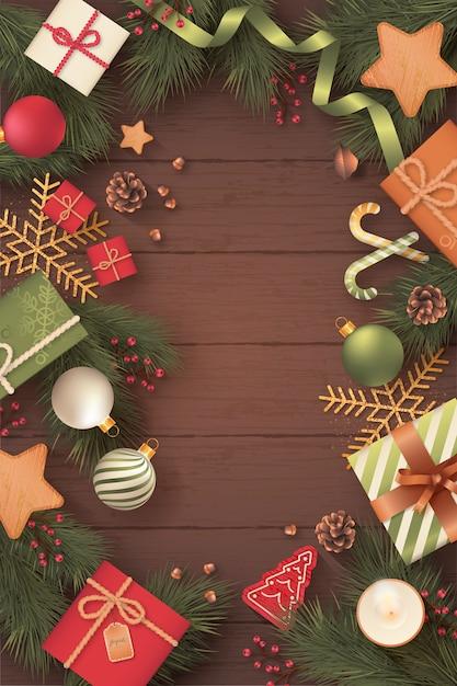 Realistische verticale kerstkaart op houten achtergrond Gratis Vector