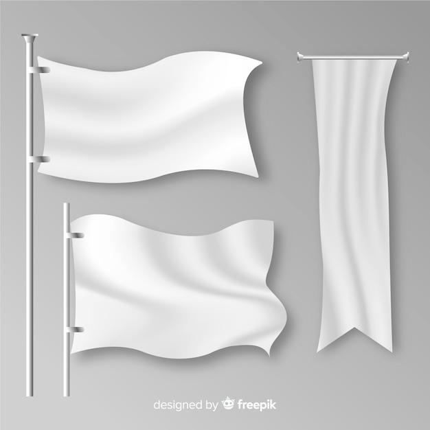 Realistische verzameling textielvlaggen Premium Vector