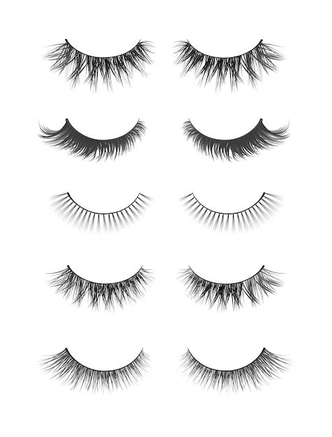 Realistische verzameling valse wimpers. trendy mode-illustratie voor mascarapak of schoonheidsproducten. vrouwelijke wimpers die op witte achtergrond worden geplaatst Premium Vector