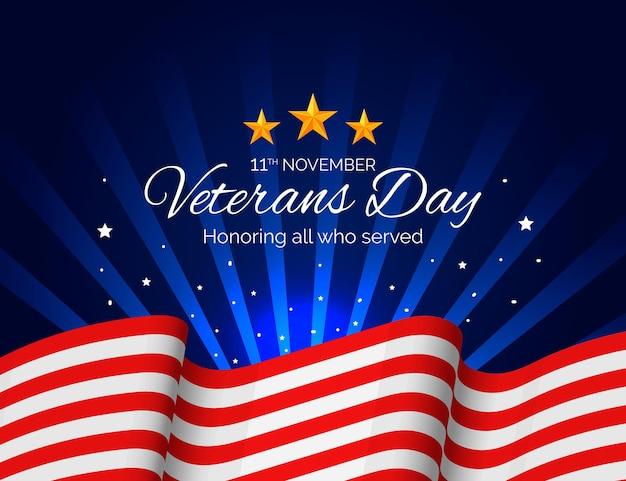 Realistische veteranendag met amerikaanse vlag Premium Vector