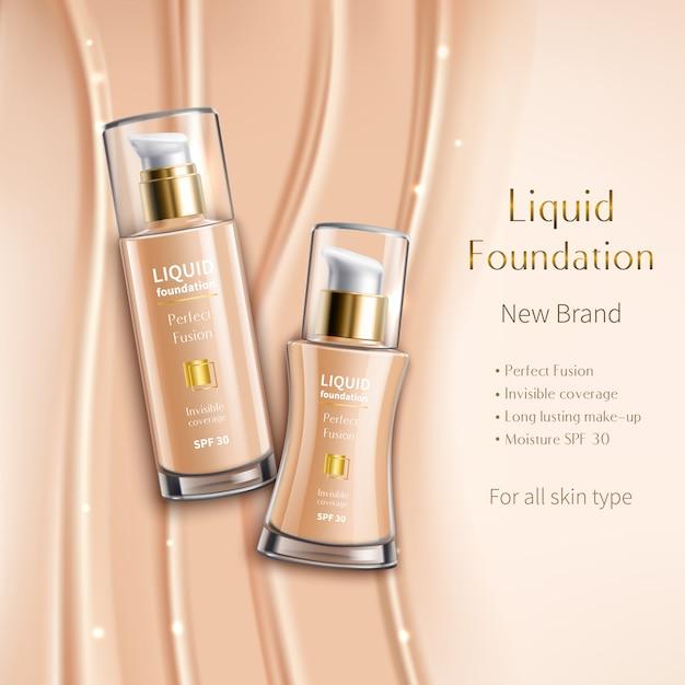 Realistische vloeibare foundation in glazen flesjes reclame samenstelling van cosmetica product op beige mousserende Gratis Vector