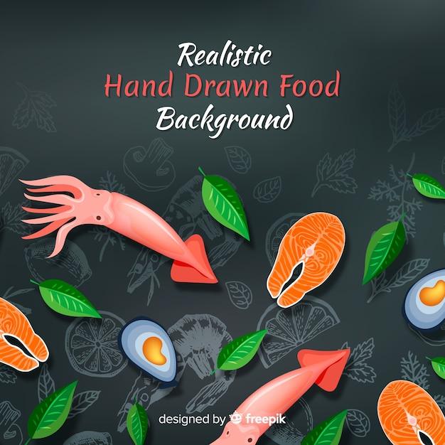 Realistische voedselachtergrond Gratis Vector
