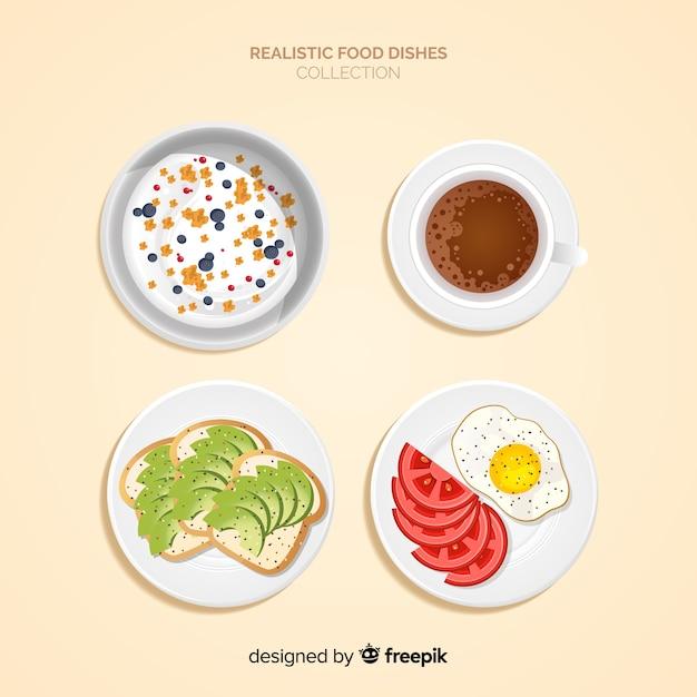 Realistische voedselgerechten collectie Gratis Vector
