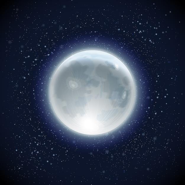 Realistische volle maan hemelachtergrond Gratis Vector