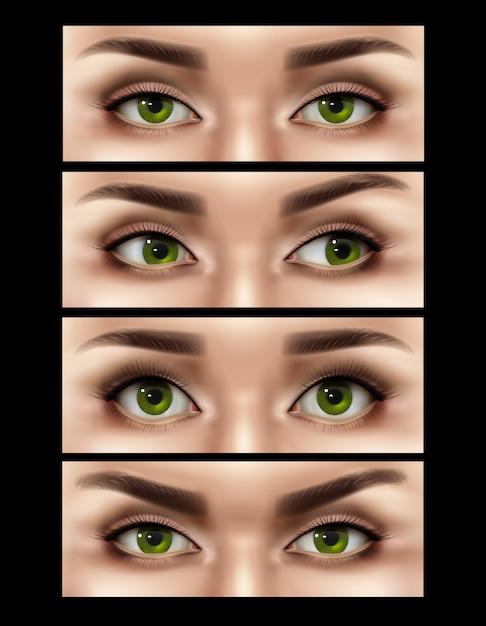 Realistische vrouwelijke ogen expressies instellen Gratis Vector