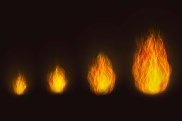 Realistische vuurvlammen in verschillende maten Gratis Vector