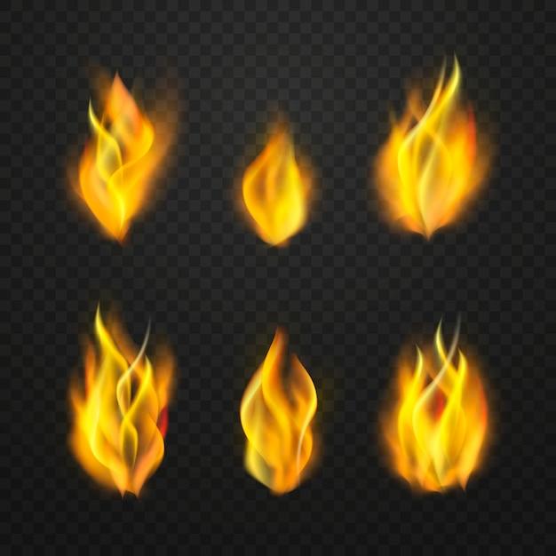 Realistische vuurvlammen Gratis Vector
