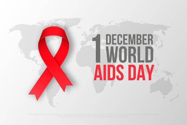 Realistische wereld aids-dag lint op kaart achtergrond Premium Vector