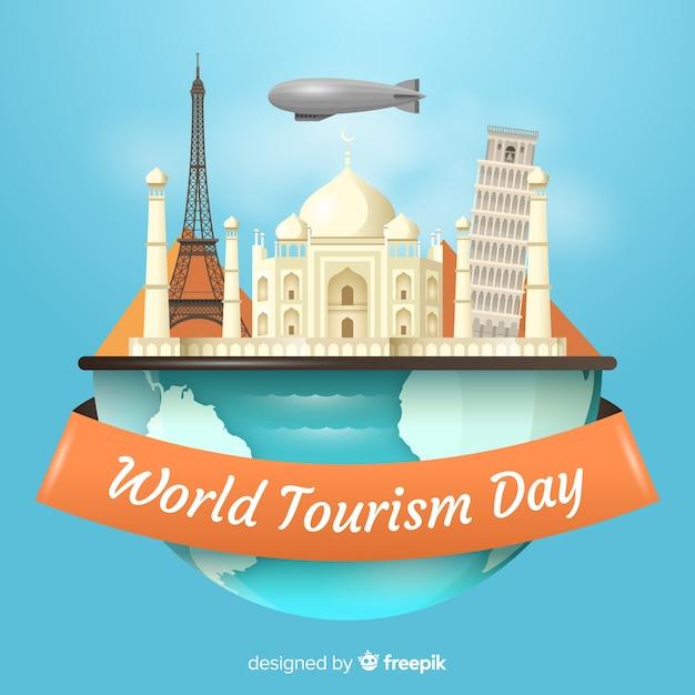 Realistische wereldtoerismedag Gratis Vector