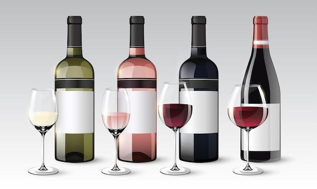 Realistische wijncollectie van flessen en glazen met witte rode roos dranken geïsoleerd Gratis Vector