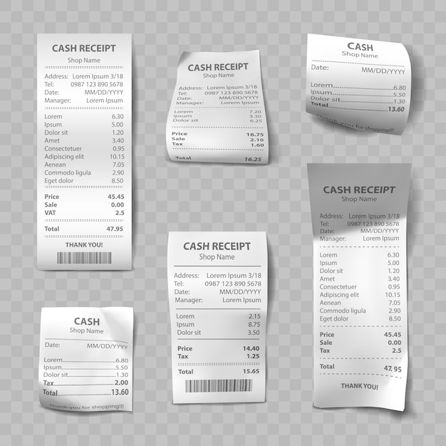 Realistische winkelbon, papieren betaalrekeningen Gratis Vector