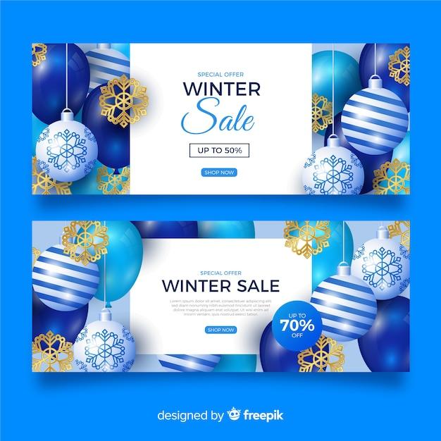 Realistische winter verkoop banners sjabloon Gratis Vector