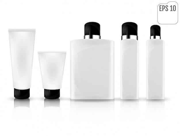 Realistische witte cosmetische flessen Premium Vector