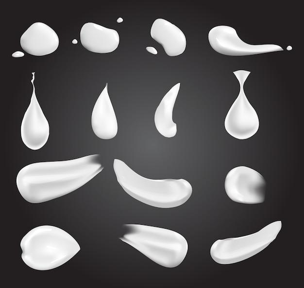 Realistische witte creme-elementen: een druppel, een plons, uitstrijkje, geperste crème. illustratie op transparante achtergrond wordt geïsoleerd die. Premium Vector