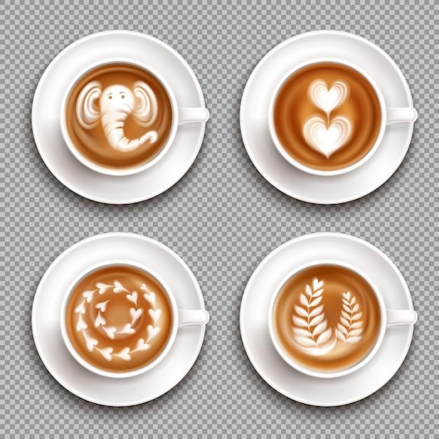 Realistische witte cups met latte art afbeeldingen bovenaanzicht op transparant geïsoleerd Gratis Vector