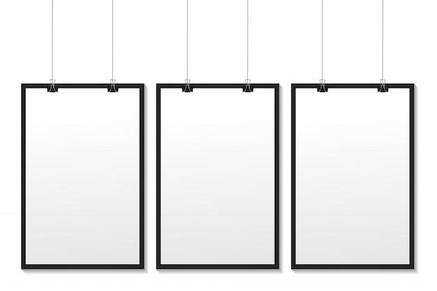 Realistische witte kaders op de witte achtergrond voor decoratie en huisstijl. Premium Vector