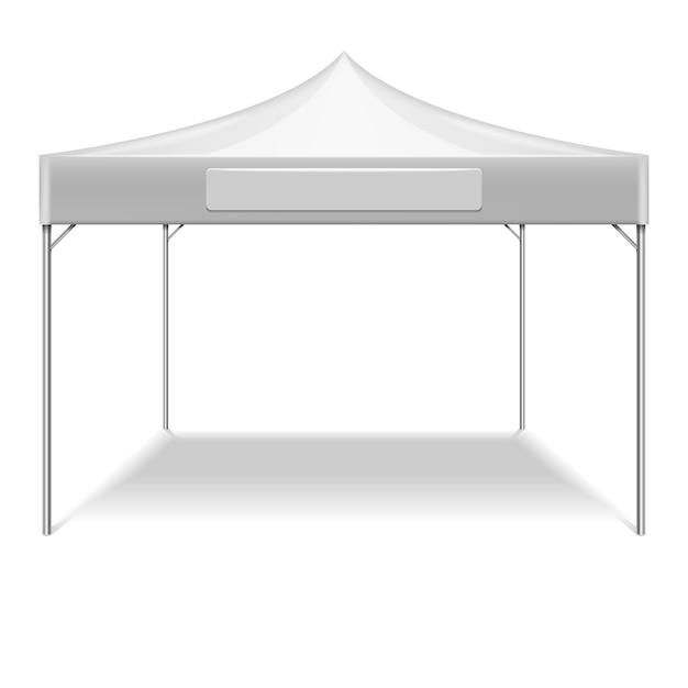 Realistische witte opvouwbare tent voor buitenfeest in de tuin. vectormodeltent voor bescherming tegen zon Premium Vector