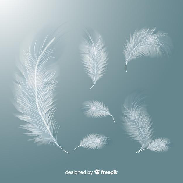Realistische witte veren set Gratis Vector