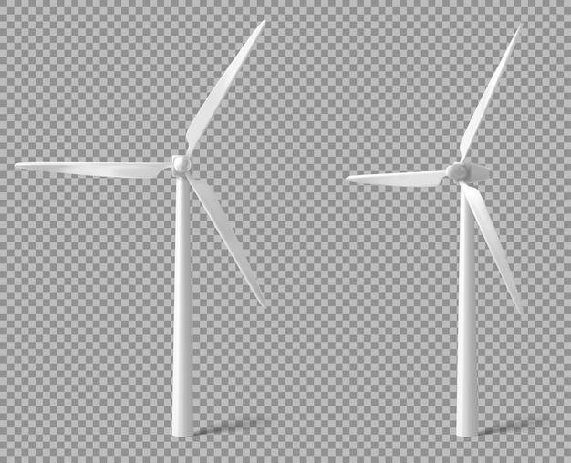 Realistische witte windturbine Gratis Vector