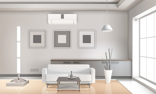 Realistische woonkamer interieur lichte tonen Gratis Vector