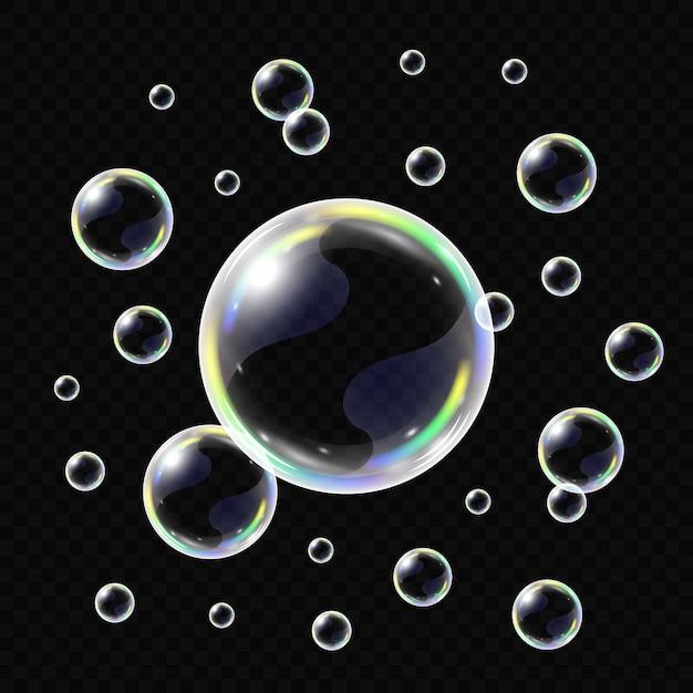 Realistische zeepbellen geïsoleerd Premium Vector