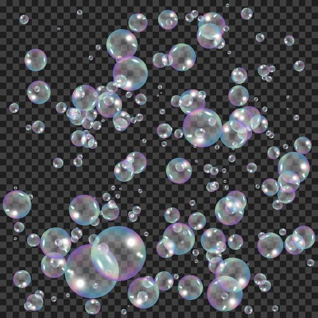 Realistische zeepbellen met regenboogeffect. water schuimbellen. Premium Vector