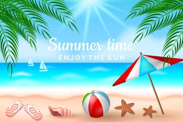 Realistische zomer achtergrond Gratis Vector