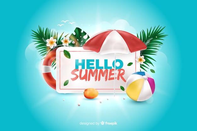 Realistische zomer elementen rond teken achtergrond Gratis Vector