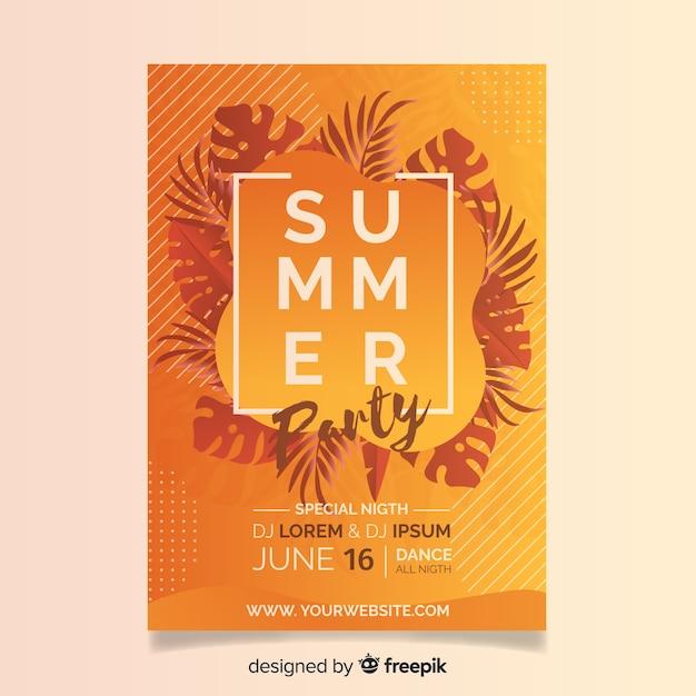 Realistische zomer flyer sjabloon voor feestjes Gratis Vector