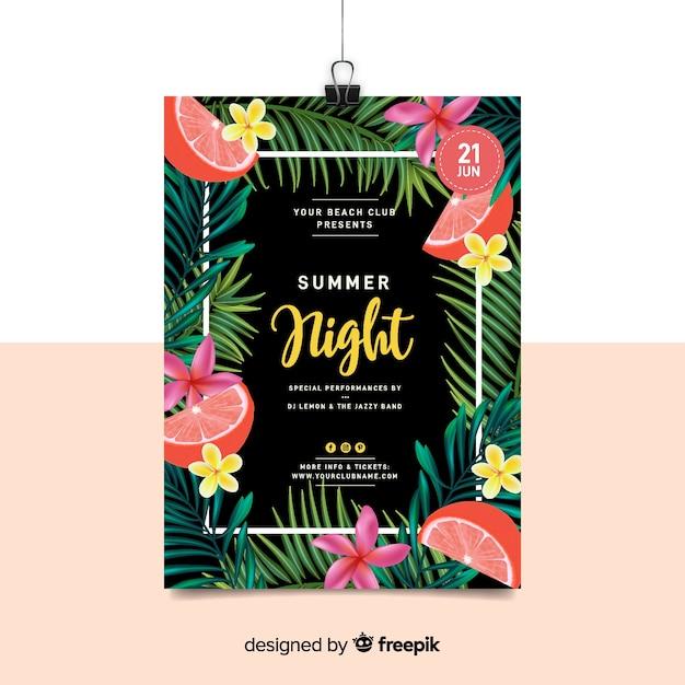 Citaten Zomer Dj : Realistische zomer partij poster sjabloon vector gratis download