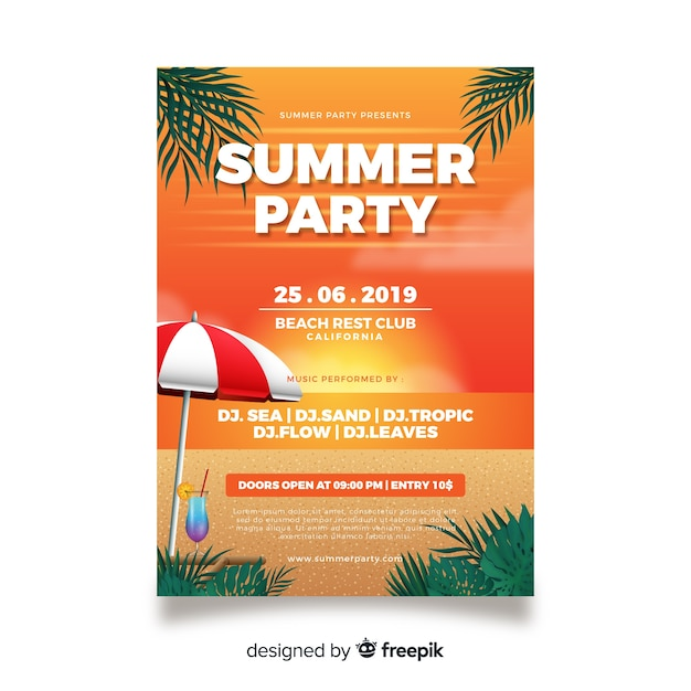 Realistische zomer partij poster sjabloon Gratis Vector