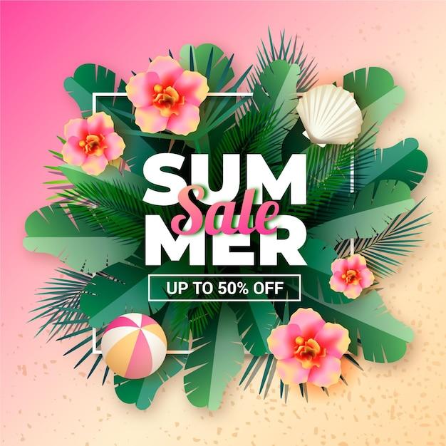 Realistische zomer verkoop banner Gratis Vector