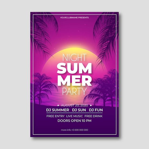 Realistische zomerfeest flyer sjabloon Gratis Vector