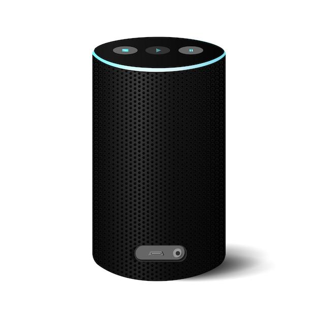 Realistische zwarte bluetooth-luidspreker met stroomblauw snoer. Premium Vector