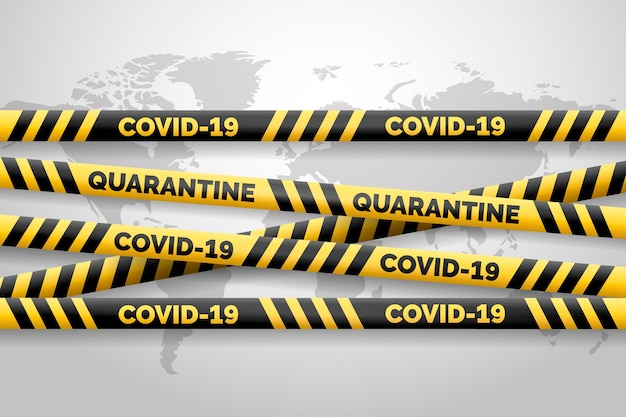 Realistische zwarte en gele covid-19 strepen Gratis Vector
