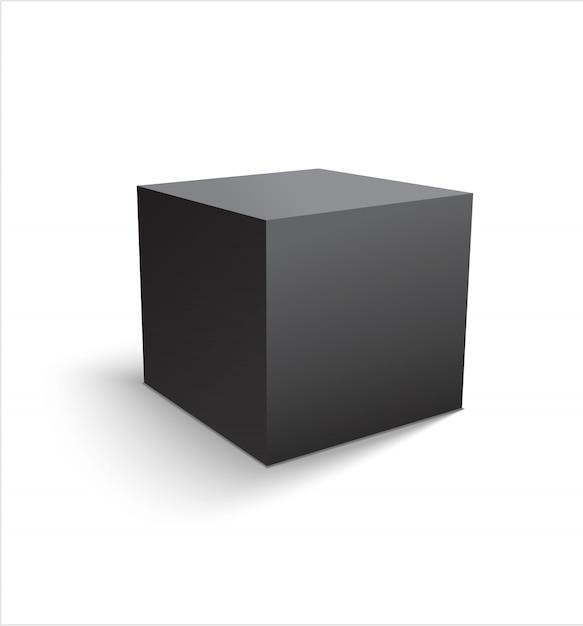 Realistische zwarte kubus of doos geïsoleerd Premium Vector