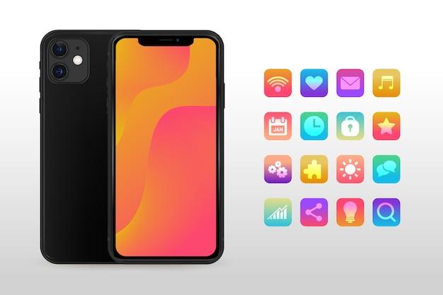Realistische zwarte smartphone met verschillende apps Gratis Vector
