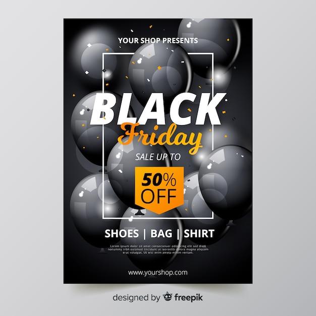 Realistische zwarte vrijdag flyer Gratis Vector