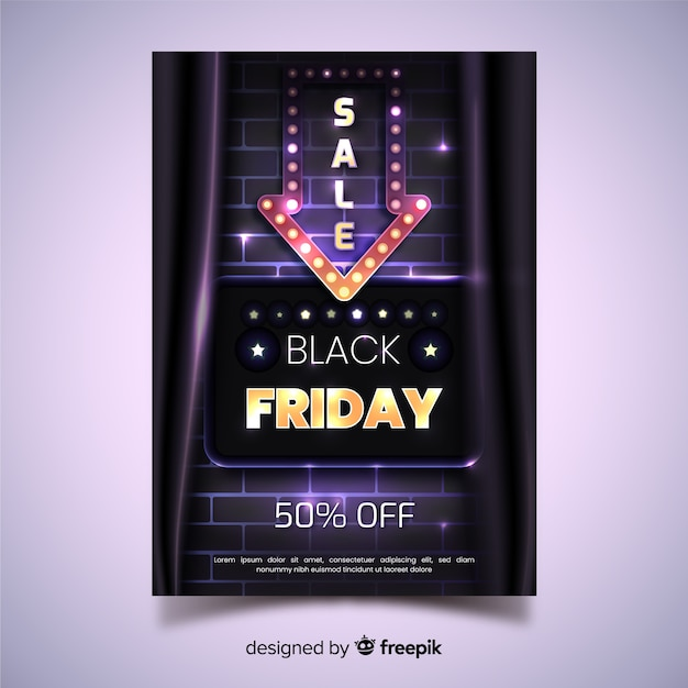 Realistische zwarte vrijdag folder sjabloon Gratis Vector