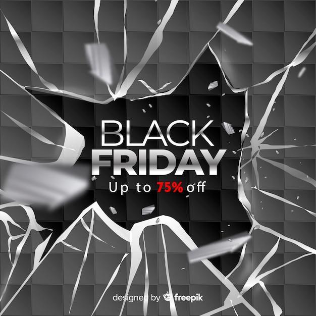 Realistische zwarte vrijdag met gebroken glas Gratis Vector