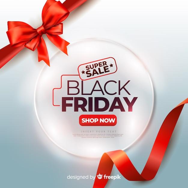 Realistische zwarte vrijdag met rode schattige linten Gratis Vector