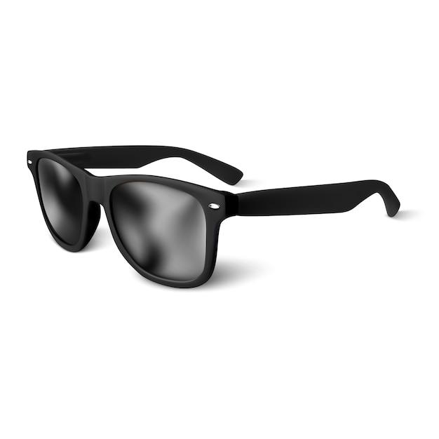 Realistische zwarte zonnebril op witte achtergrond. illustratie. Premium Vector