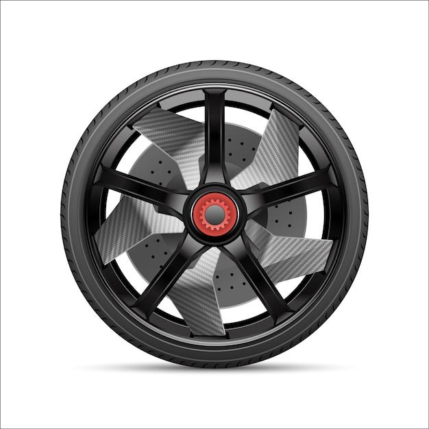 Realistische zwartgrijze autolegerlegering met band. Premium Vector
