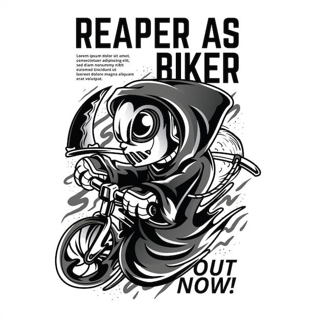 Reaper als biker zwart en wit illustratie Premium Vector