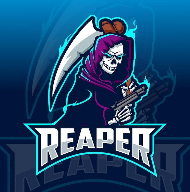 Reaper mascotte esport-logo Premium Vector