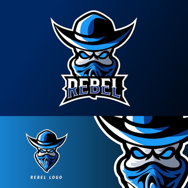 Rebel bandit sport of esport gaming mascotte logo sjabloon Premium Vector