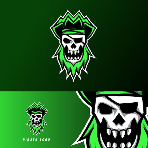 Rebel pirate sport esport logo sjabloon ontwerp schedel hoofdband Premium Vector