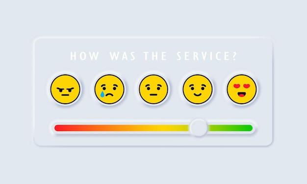 Recensies of beoordelingsschaal met emoji die verschillende emoties vertegenwoordigt Premium Vector