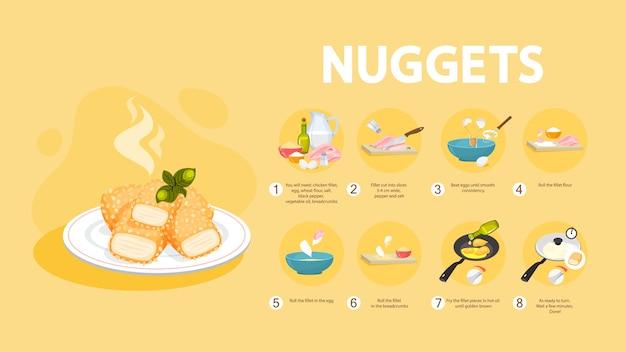 Recept voor kipnuggets om thuis te koken. Premium Vector